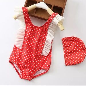 Other - COMING SOON! ✳ (3/4) Polka Dot Swimsuit & Cap